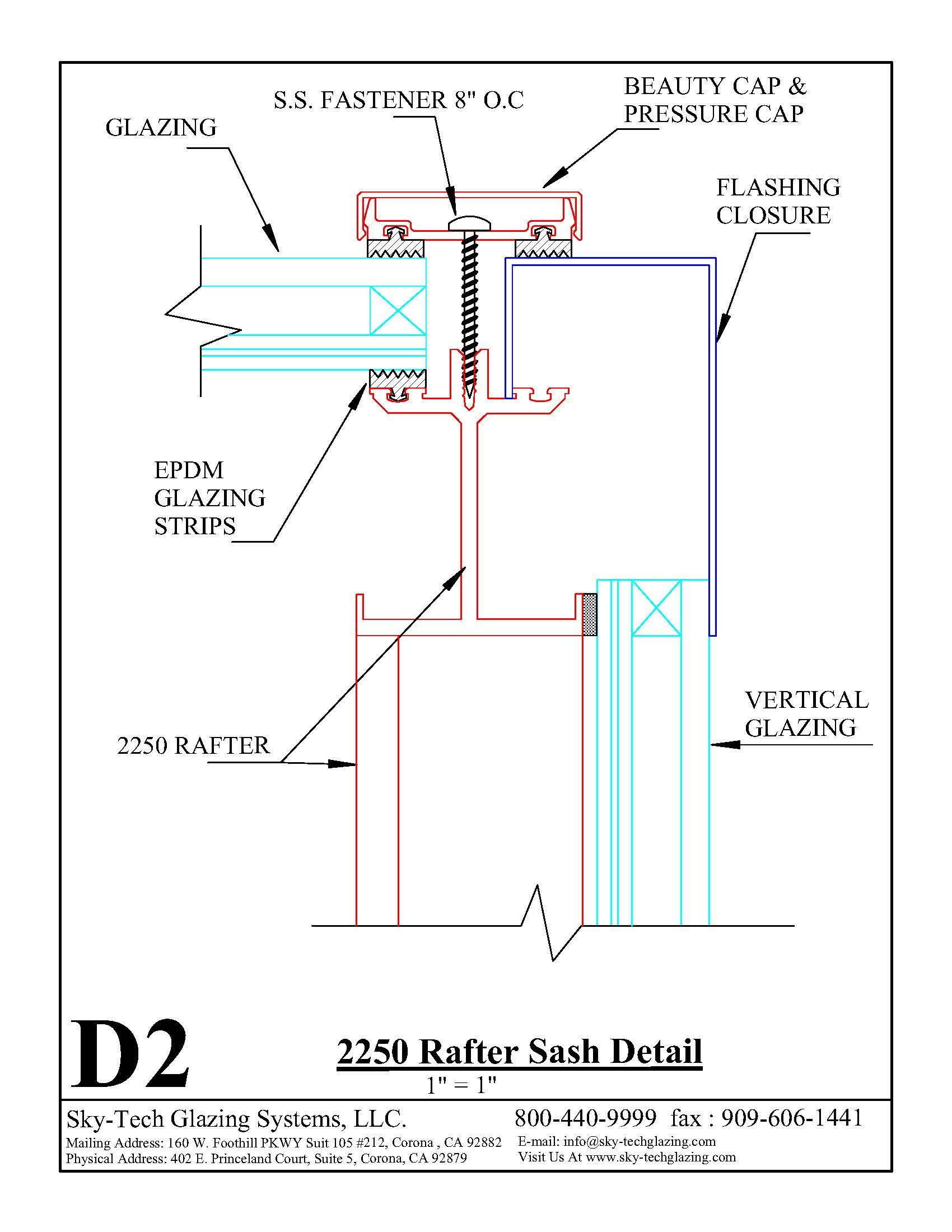 D2 2250 Rafter Sash Detail