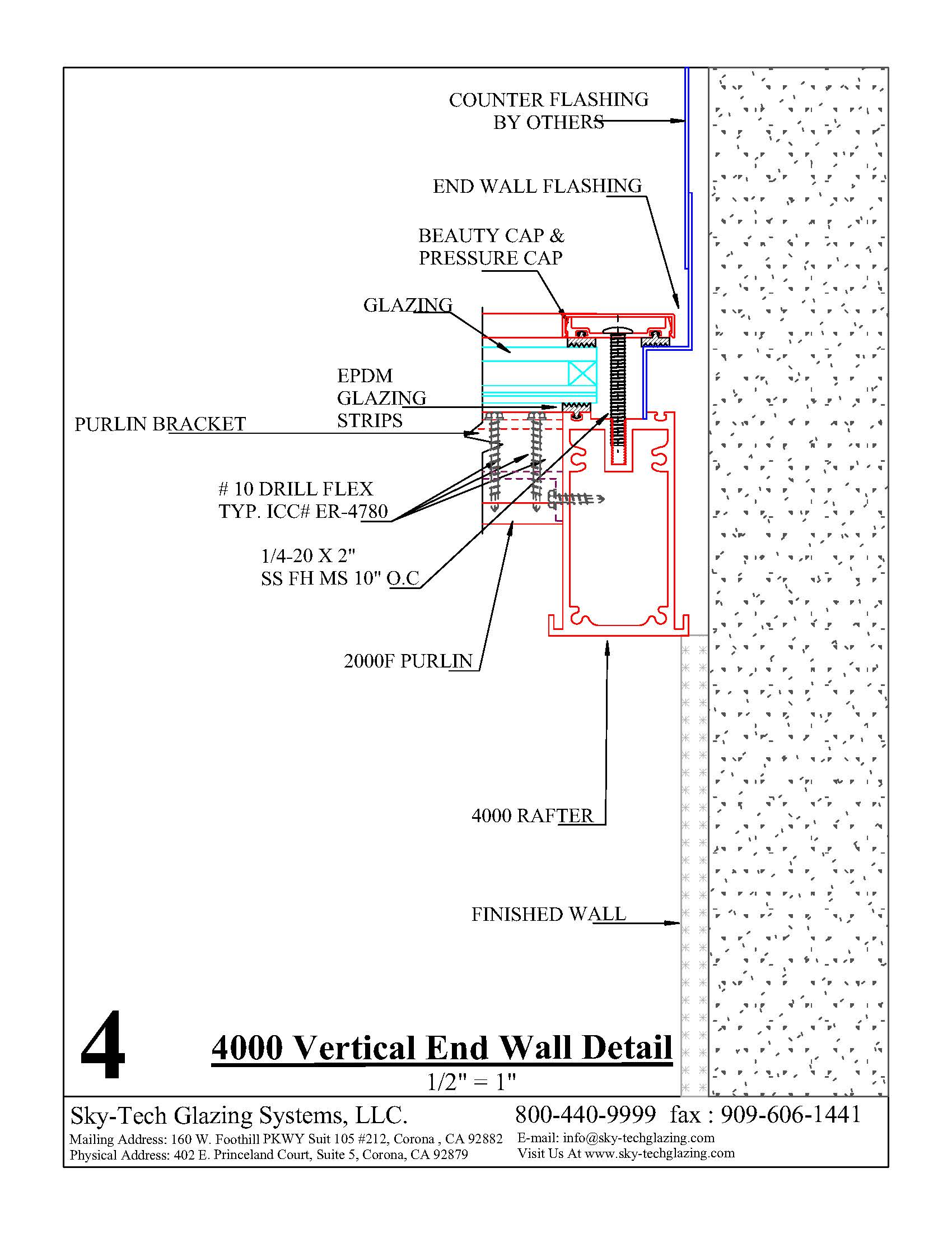 4 4000 Vertical End Wall Detail