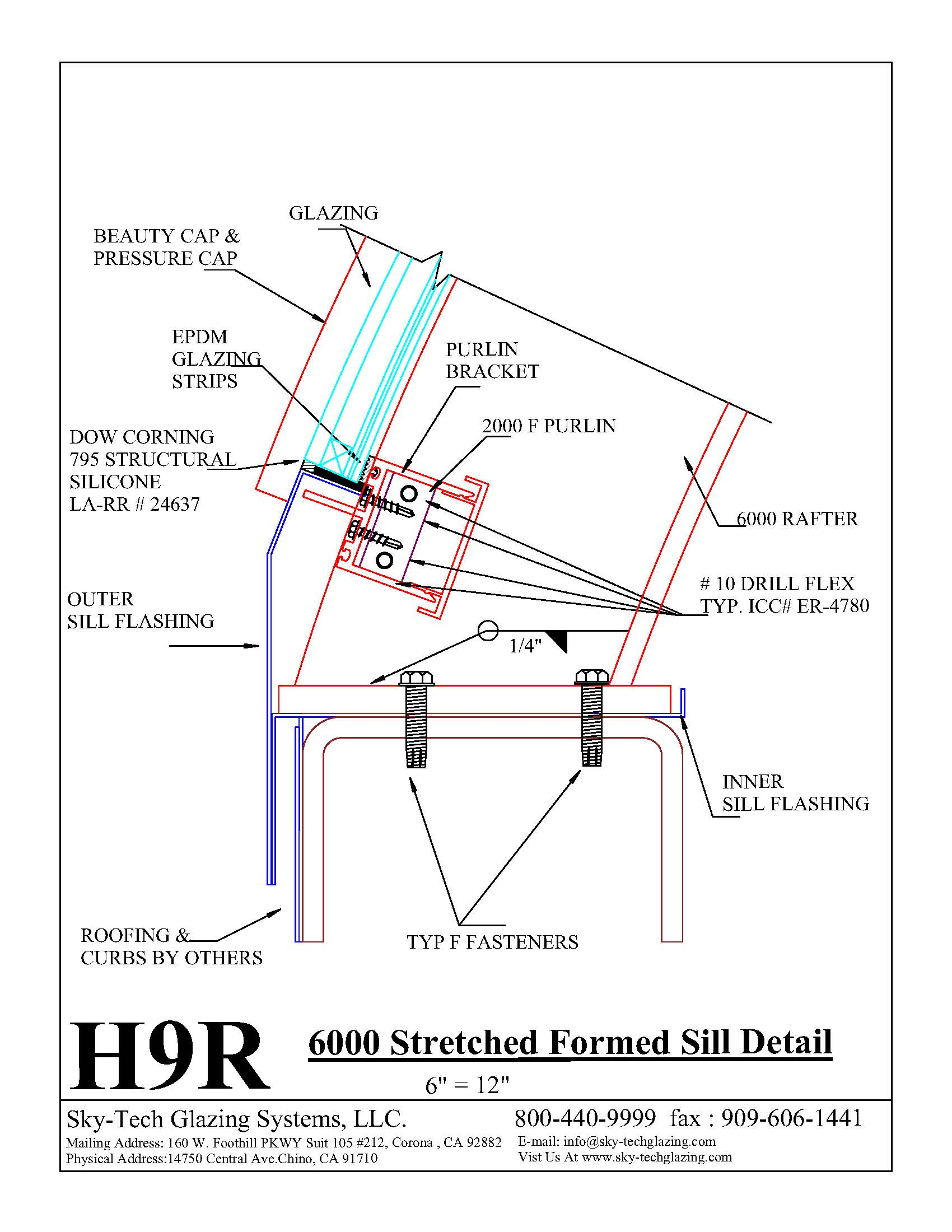 H9R 6000 Stretched Formed Sill Detail