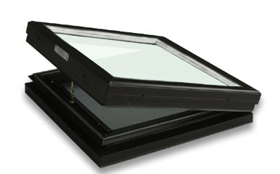 Curb Mounted Glass Operable Clear over White Skylight